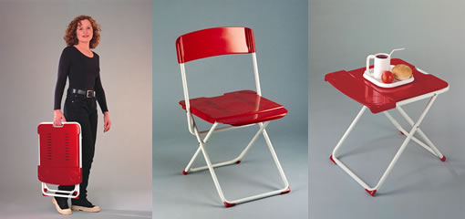 Full Size Chair, Folds Flat And Stacks. With Drink Holders And Built In  Handle. Worldu0027s Most Compact Folding Chair. U.S. Patent Available For  License.